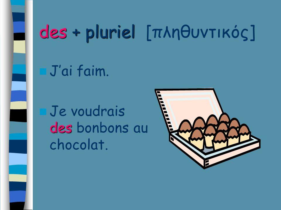 des + pluriel des + pluriel [πληθυντικός] Jai faim. des Je voudrais des bonbons au chocolat.