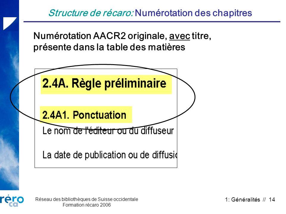 Réseau des bibliothèques de Suisse occidentale Formation récaro 2006 1: Généralités // 14 Structure de récaro: Numérotation des chapitres Numérotation