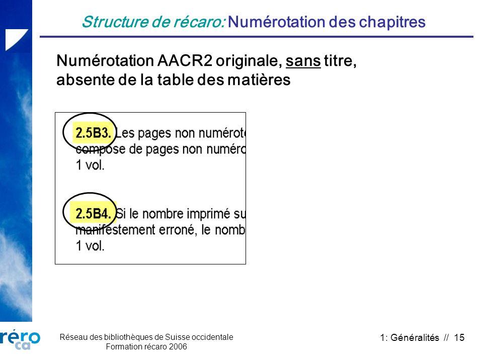 Réseau des bibliothèques de Suisse occidentale Formation récaro 2006 1: Généralités // 15 Structure de récaro: Numérotation des chapitres Numérotation