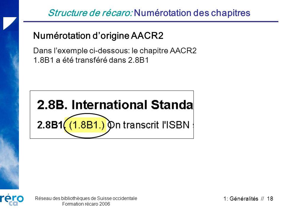 Réseau des bibliothèques de Suisse occidentale Formation récaro 2006 1: Généralités // 18 Structure de récaro: Numérotation des chapitres Numérotation