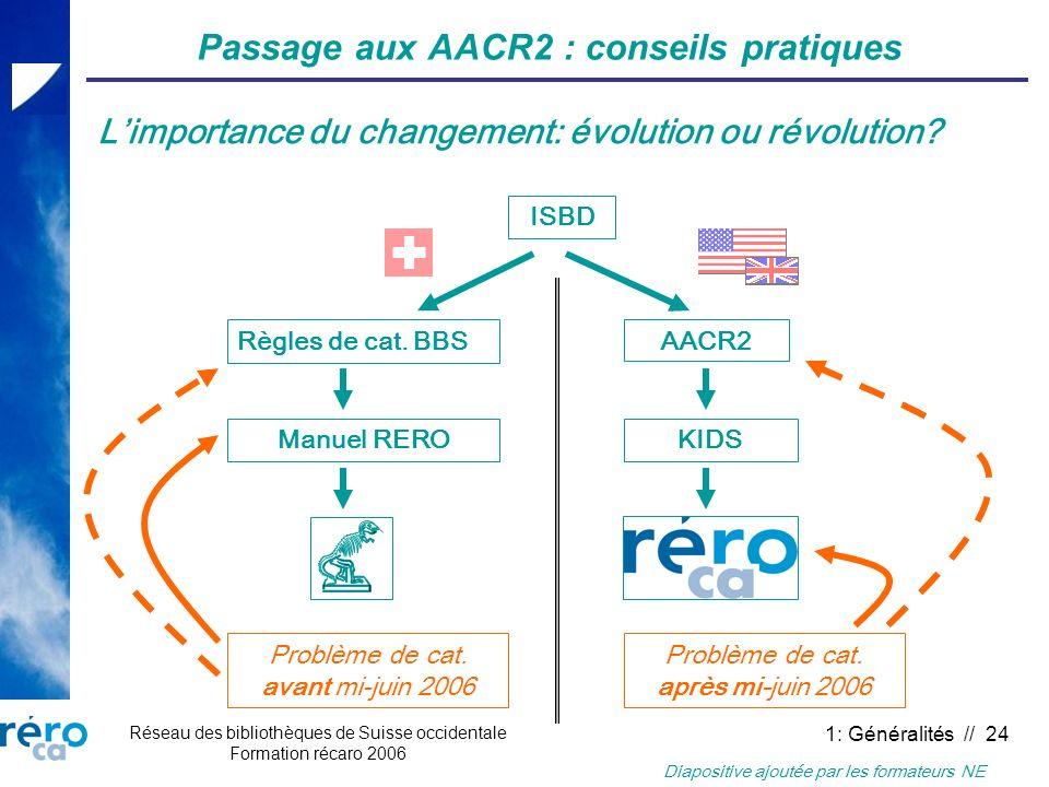 Réseau des bibliothèques de Suisse occidentale Formation récaro 2006 1: Généralités // 24 Passage aux AACR2 : conseils pratiques Limportance du change