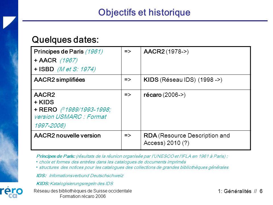 Réseau des bibliothèques de Suisse occidentale Formation récaro 2006 1: Généralités // 6 Objectifs et historique Principes de Paris (1961) + AACR (196