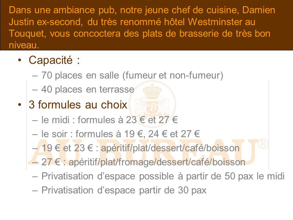 Dans une ambiance pub, notre jeune chef de cuisine, Damien Justin ex-second, du très renommé hôtel Westminster au Touquet, vous concoctera des plats d