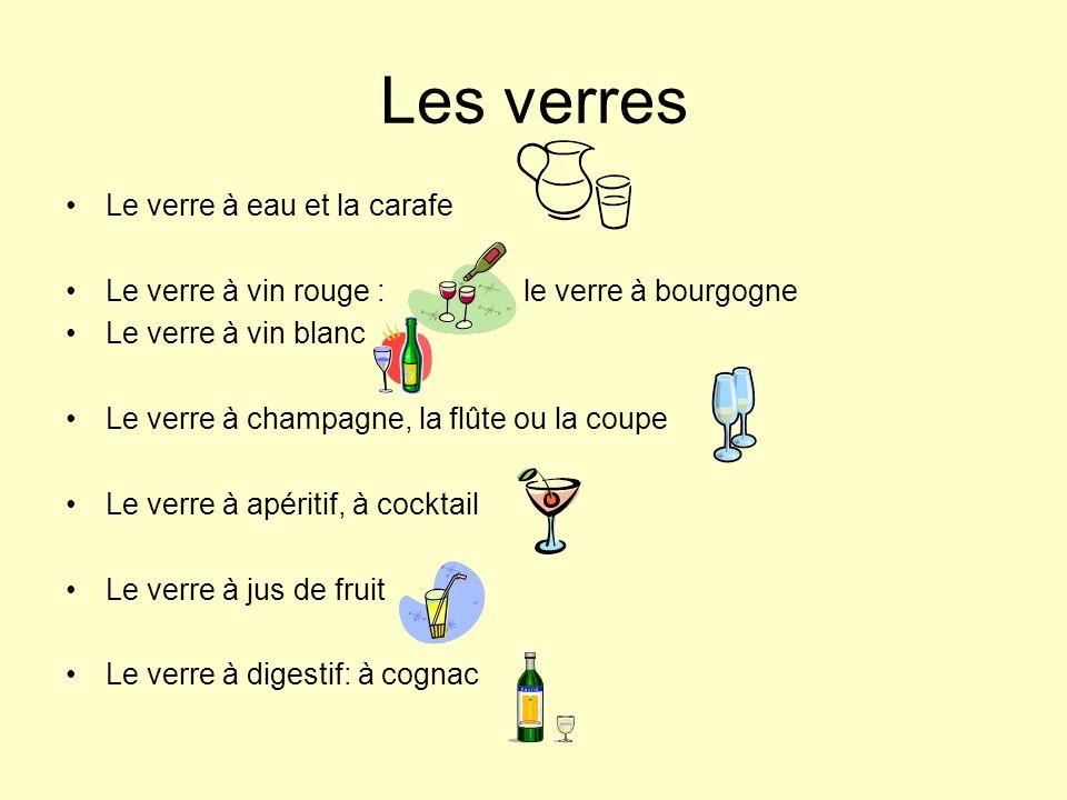 Les verres Le verre à eau et la carafe Le verre à vin rouge : le verre à bourgogne Le verre à vin blanc Le verre à champagne, la flûte ou la coupe Le