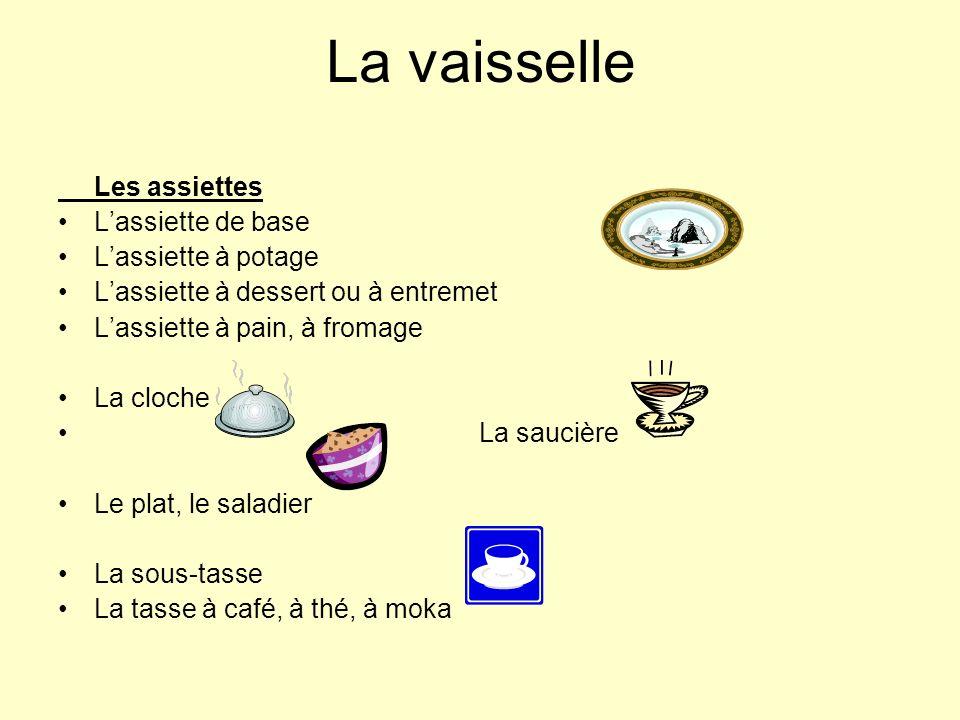 La vaisselle Les assiettes Lassiette de base Lassiette à potage Lassiette à dessert ou à entremet Lassiette à pain, à fromage La cloche La saucière Le