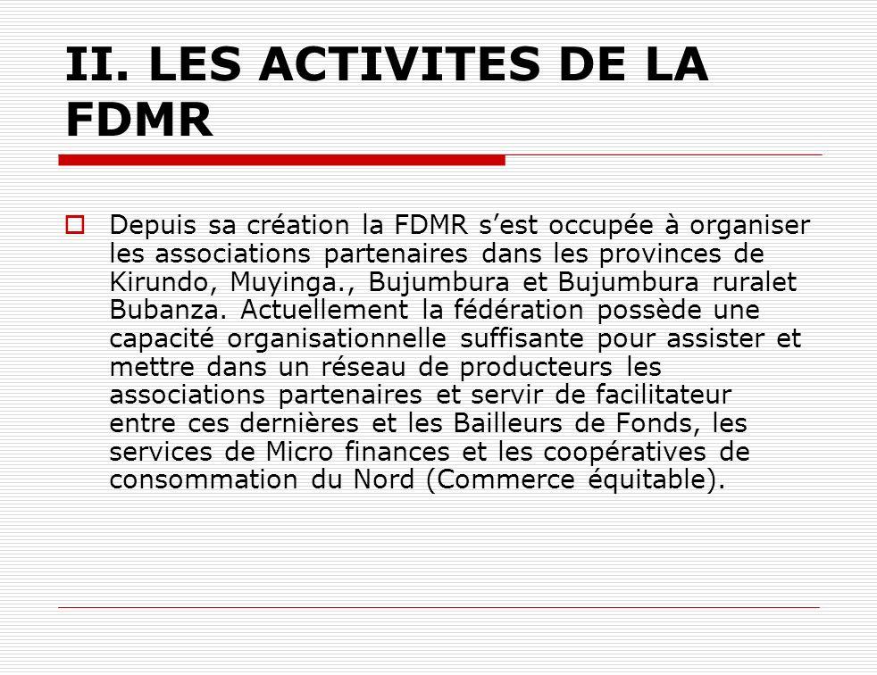 II. LES ACTIVITES DE LA FDMR Depuis sa création la FDMR sest occupée à organiser les associations partenaires dans les provinces de Kirundo, Muyinga.,