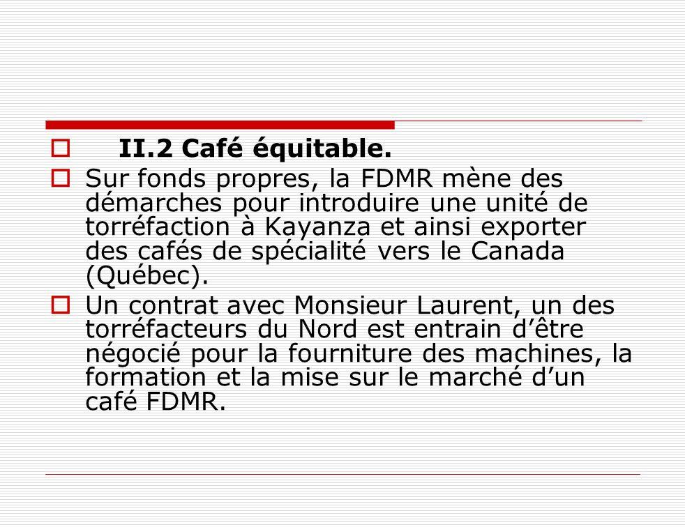 II.2 Café équitable. Sur fonds propres, la FDMR mène des démarches pour introduire une unité de torréfaction à Kayanza et ainsi exporter des cafés de