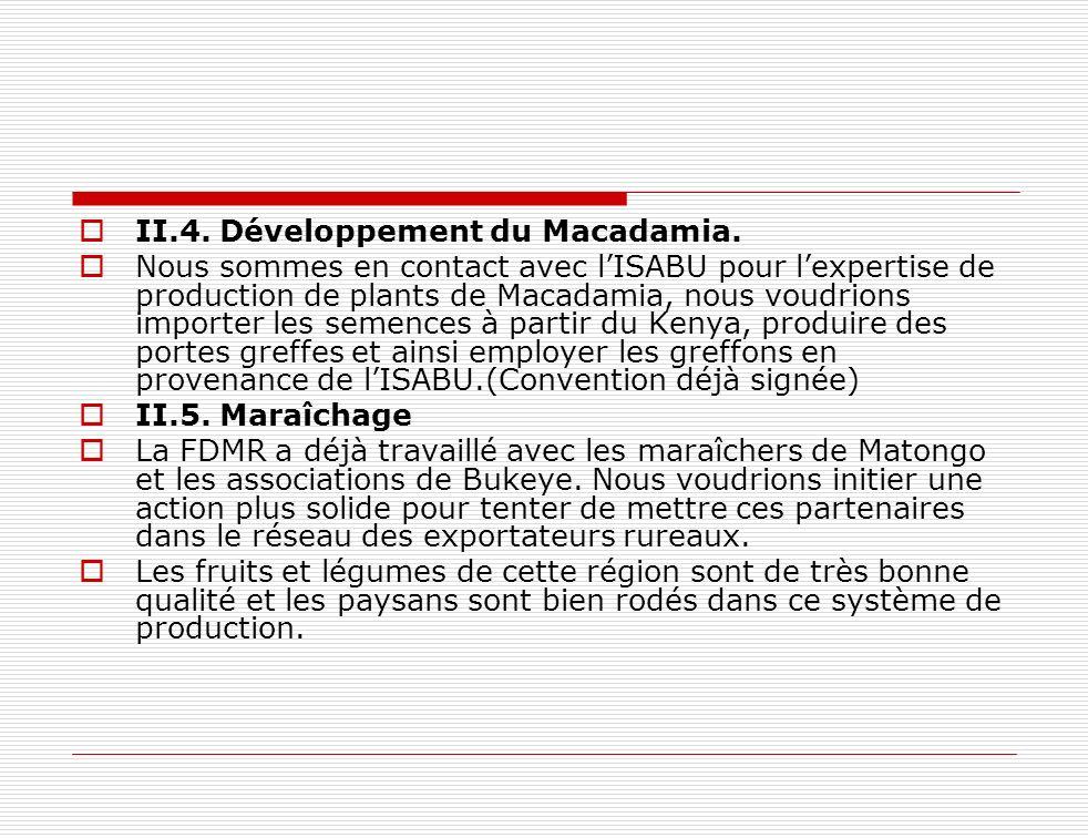 II.4. Développement du Macadamia. Nous sommes en contact avec lISABU pour lexpertise de production de plants de Macadamia, nous voudrions importer les