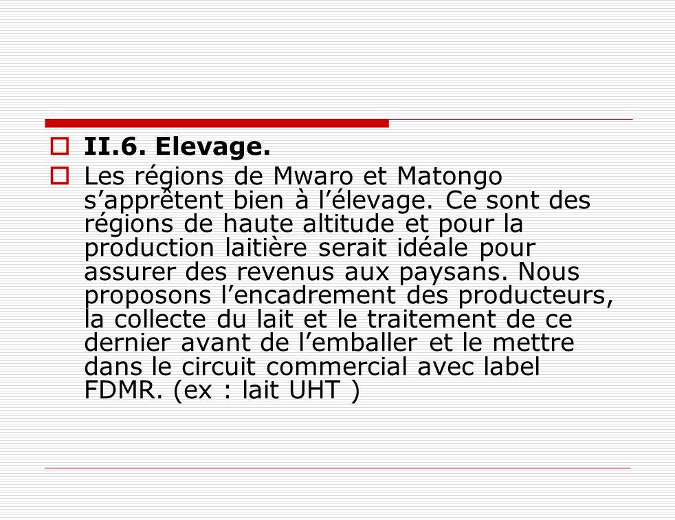 II.6. Elevage. Les régions de Mwaro et Matongo sapprêtent bien à lélevage. Ce sont des régions de haute altitude et pour la production laitière serait