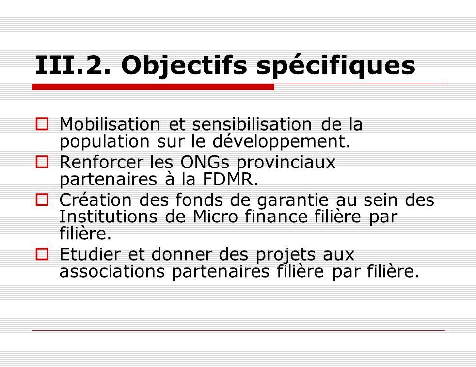 III.2. Objectifs spécifiques Mobilisation et sensibilisation de la population sur le développement. Renforcer les ONGs provinciaux partenaires à la FD