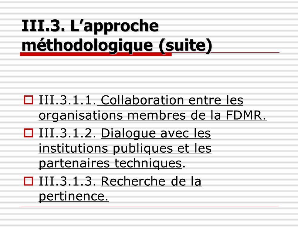 III.3.1.1. Collaboration entre les organisations membres de la FDMR. III.3.1.2. Dialogue avec les institutions publiques et les partenaires techniques