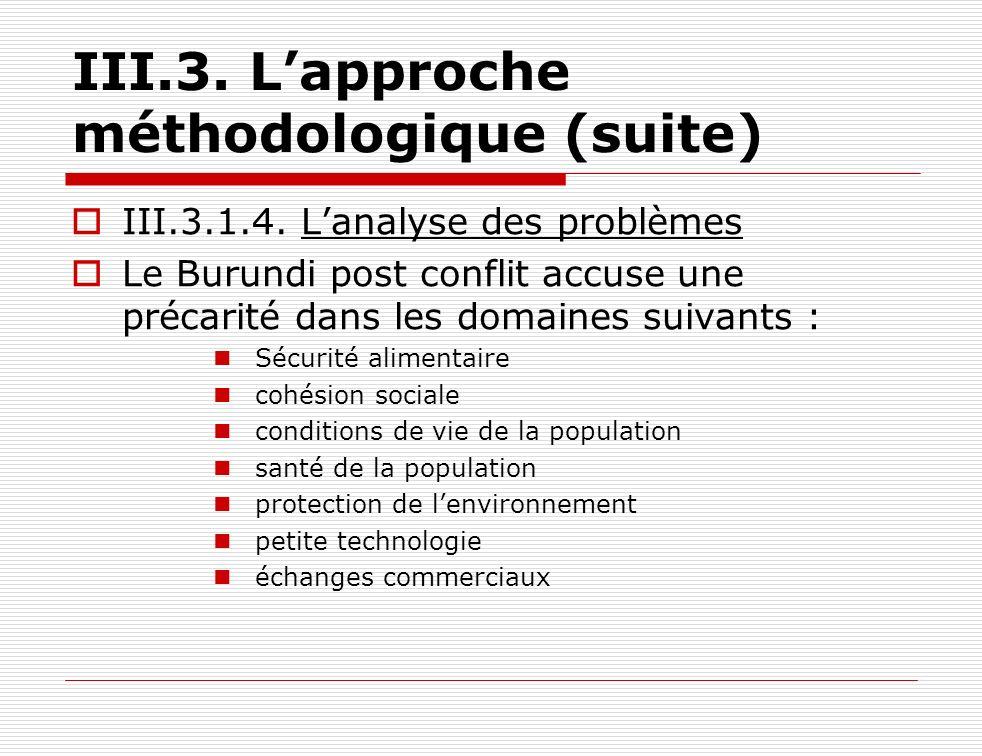III.3.1.4. Lanalyse des problèmes Le Burundi post conflit accuse une précarité dans les domaines suivants : Sécurité alimentaire cohésion sociale cond