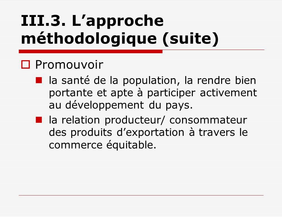 III.3. Lapproche méthodologique (suite) Promouvoir la santé de la population, la rendre bien portante et apte à participer activement au développement