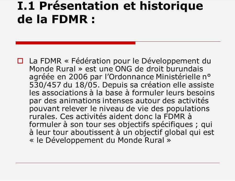 I.1 Présentation et historique de la FDMR : La FDMR « Fédération pour le Développement du Monde Rural » est une ONG de droit burundais agréée en 2006
