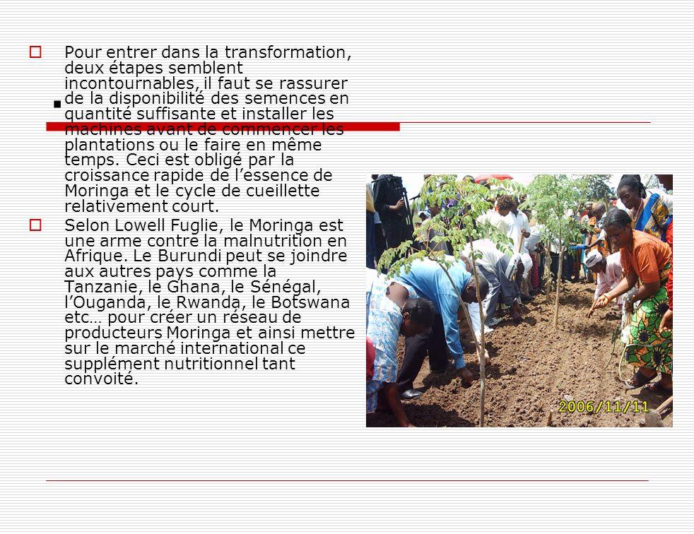 . Pour entrer dans la transformation, deux étapes semblent incontournables, il faut se rassurer de la disponibilité des semences en quantité suffisant