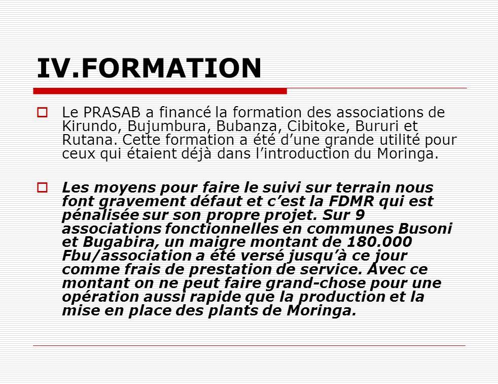 IV.FORMATION Le PRASAB a financé la formation des associations de Kirundo, Bujumbura, Bubanza, Cibitoke, Bururi et Rutana. Cette formation a été dune