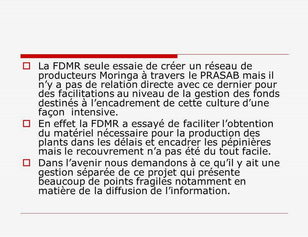 La FDMR seule essaie de créer un réseau de producteurs Moringa à travers le PRASAB mais il ny a pas de relation directe avec ce dernier pour des facil