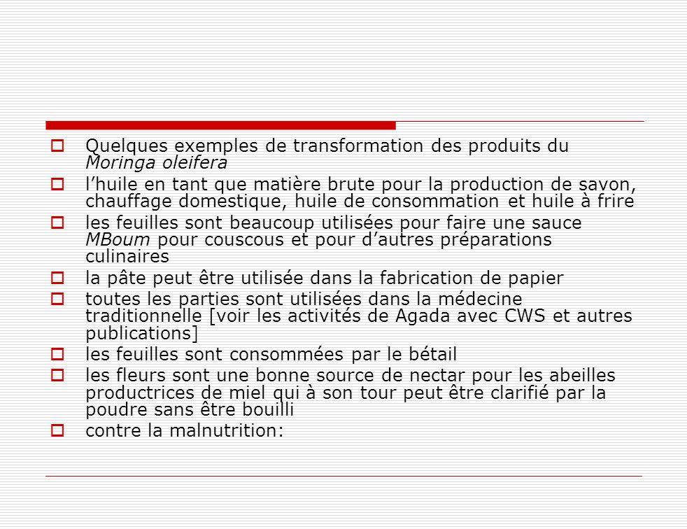 Quelques exemples de transformation des produits du Moringa oleifera lhuile en tant que matière brute pour la production de savon, chauffage domestiqu