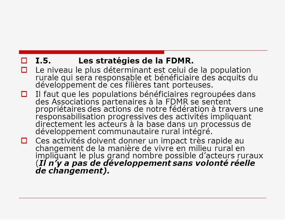 I.5.Les stratégies de la FDMR. Le niveau le plus déterminant est celui de la population rurale qui sera responsable et bénéficiaire des acquits du dév