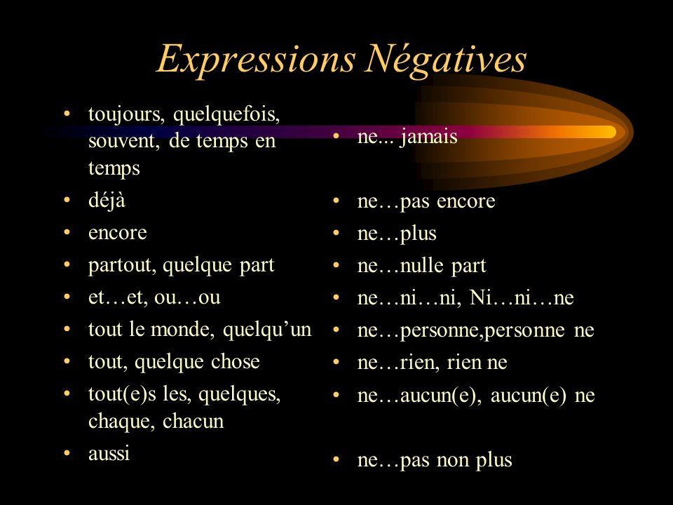 Expressions Négatives toujours, quelquefois, souvent, de temps en temps déjà encore partout, quelque part et…et, ou…ou tout le monde, quelquun tout, q