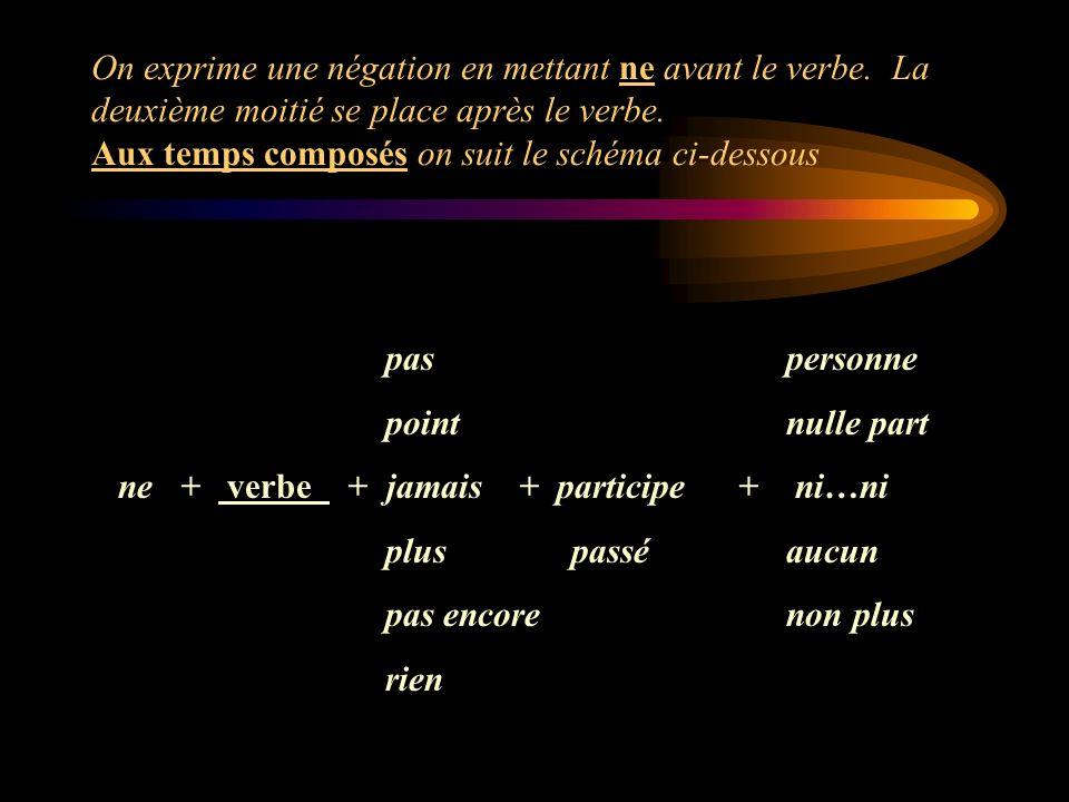 On exprime une négation en mettant ne avant le verbe. La deuxième moitié se place après le verbe. Aux temps composés on suit le schéma ci-dessous pas