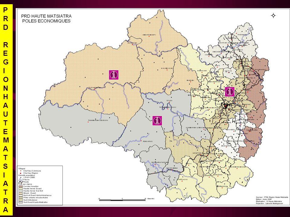 Zone urbains suburbains OBJECTIFS Les villes, vitrines du niveau de développement de lensemble de la région dici 2010: zone de prolongement des valeurs des produits locaux, centre de développement des ressources humaines de haut niveau, berceau de création demploi ORIENTATIONS STRATEGIQUES Promouvoir une vision à long terme de lurbanisation des communes rurales Favoriser le développement dun pôle commerciale et industriel, incluant le tourism Développer les services de transport, de linformation et de la communication Développer les compétences en ressources humaines et favoriser lémergence de la culture entrepreunariale Orienter lagriculture vers des productions à haute valeur ajoutée et/ou vers la satisfaction des besoins en produits frais de la ville Développer les filières: lait, Petit élevage (poulet de chair, poules pondeuses, porc), cultures maraîchères Développement de la transformation et conservation des produits agricoles: viande, foie gras Promotion des entreprises familiales et des petits métiers du secteur secondaire Développer les activités sportif et promouvoir la valeur culturelle de la région PRDREGIONHAUTEMATSIATRAPRDREGIONHAUTEMATSIATRA
