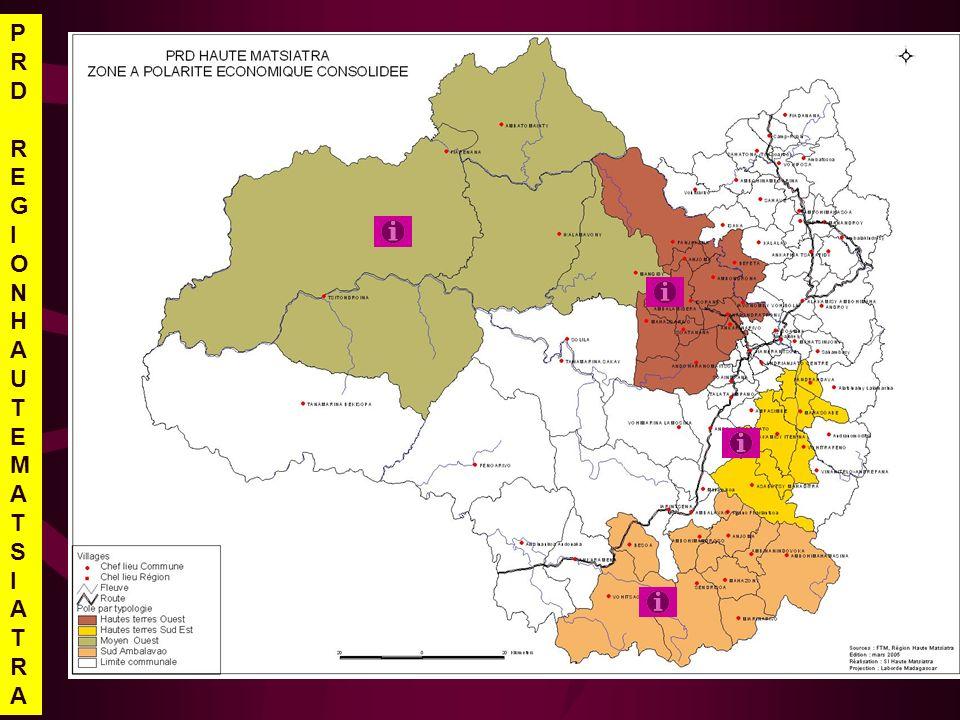 OBJECTIF Accroître la contribution de la zone à la sécurité alimentaire de la population en 2008 et à la croissance économique locale et régionale en 2015 dans un environnement économique et social viable ORIENTATIONS STRATEGIQUES Extension de la production rizicole (irrigué, pluvial) et intensification de la filière poisson deau douce pour assurer la consommation régionale Promouvoir la filière oignon pour export Développer le secteur minier par lassainissement de la filière et le développement de la transformation locale Aménager et réhabiliter les pistes de desserte économique Zone moyen Ouest ATOUTS Faible densité de population Vastes terres cultivables Élevage bovin Gisement minier Climat favorable à la riziculture et la culture doignon CONTRAINTES Population majoritairement analphabète Dégradation du capital écologique: forêt, eau, sol Feu de brousse Dahalo Échange et communication difficile à lintérieur et avec lextérieur système scolaire et encadrement sanitaire défaillants Pas de transformation des produits agricoles ou non agri PRDREGIONHAUTEMATSIATRAPRDREGIONHAUTEMATSIATRA