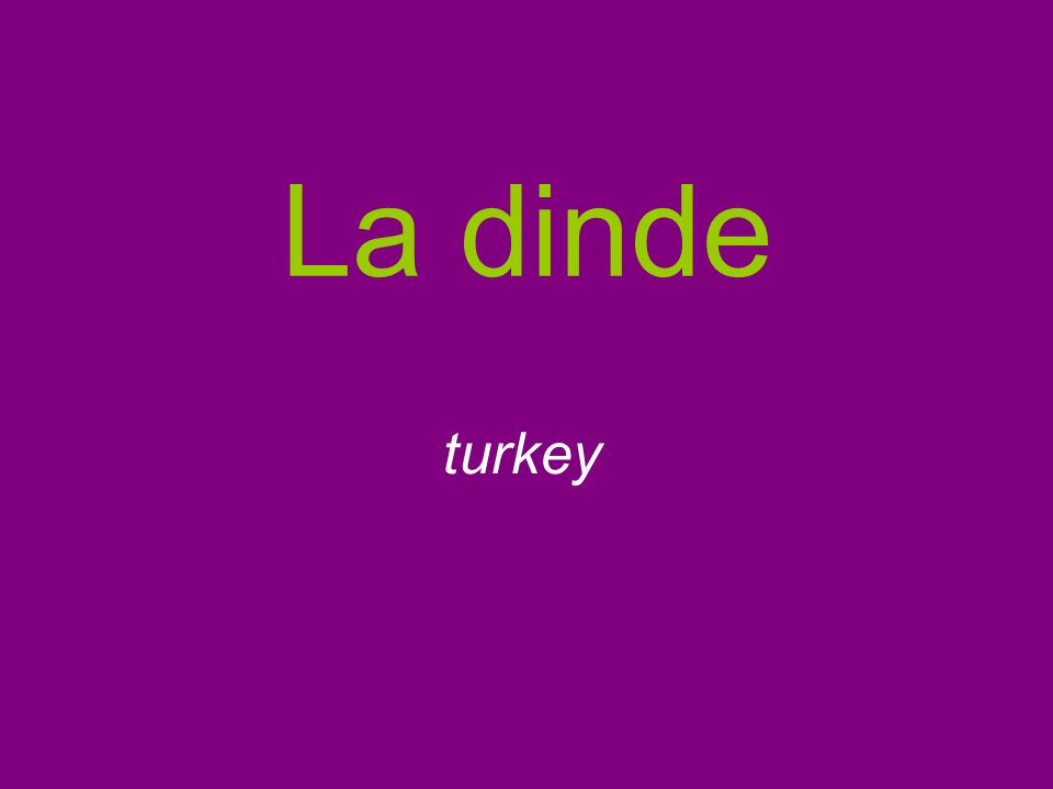 La dinde turkey