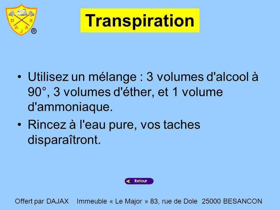Transpiration Utilisez un mélange : 3 volumes d'alcool à 90°, 3 volumes d'éther, et 1 volume d'ammoniaque. Rincez à l'eau pure, vos taches disparaîtro