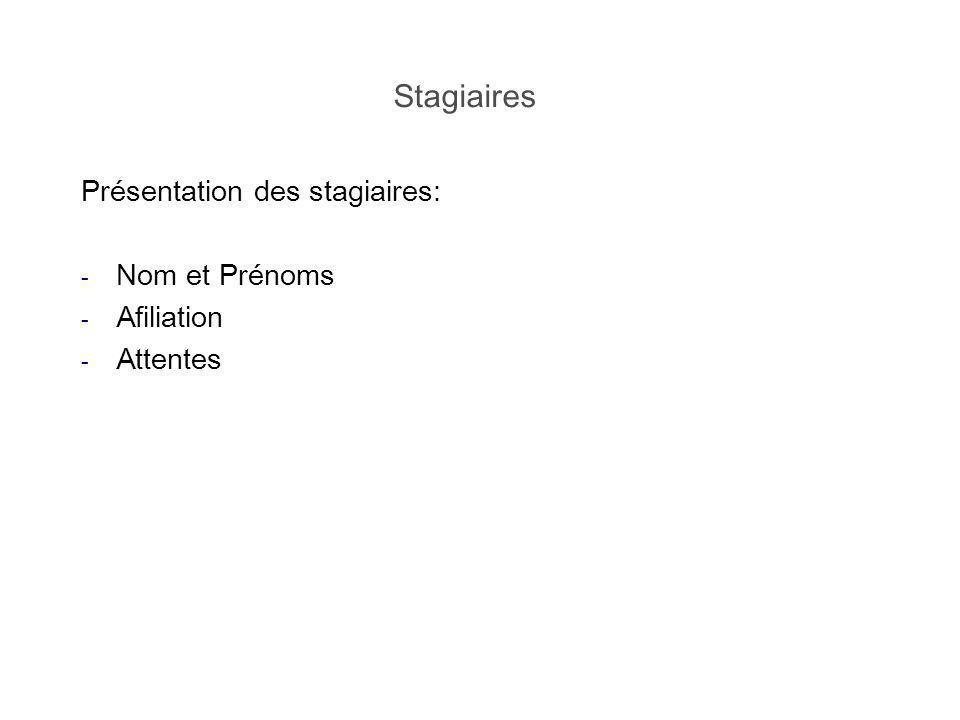 Stagiaires Présentation des stagiaires: - Nom et Prénoms - Afiliation - Attentes