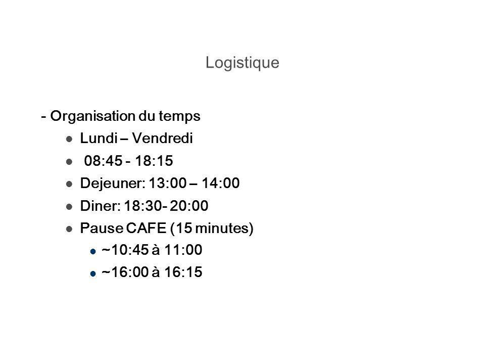 Logistique - Organisation du temps Lundi – Vendredi 08:45 - 18:15 Dejeuner: 13:00 – 14:00 Diner: 18:30- 20:00 Pause CAFE (15 minutes) ~10:45 à 11:00 ~