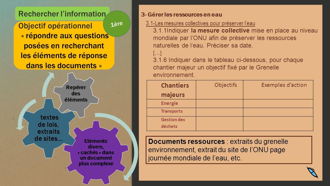 Rechercher linformation 3- Gérer les ressources en eau 3.1-Les mesures collectives pour préserver leau 3.1.1Indiquer la mesure collective mise en plac