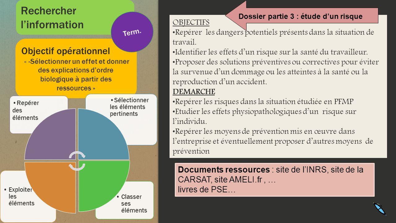 Objectif opérationnel « -Sélectionner un effet et donner des explications dordre biologique à partir des ressources » Classer ses éléments Exploiter l