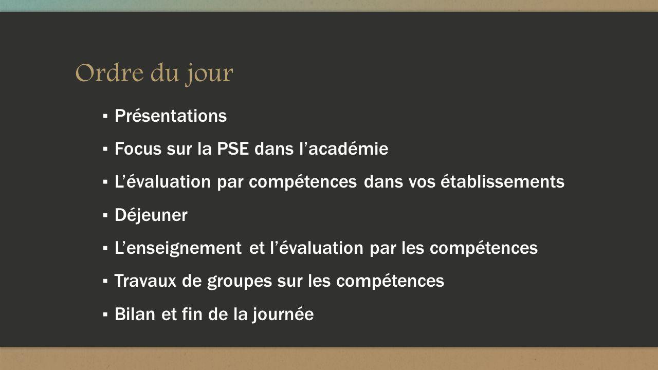 Ordre du jour Présentations Focus sur la PSE dans lacadémie Lévaluation par compétences dans vos établissements Déjeuner Lenseignement et lévaluation