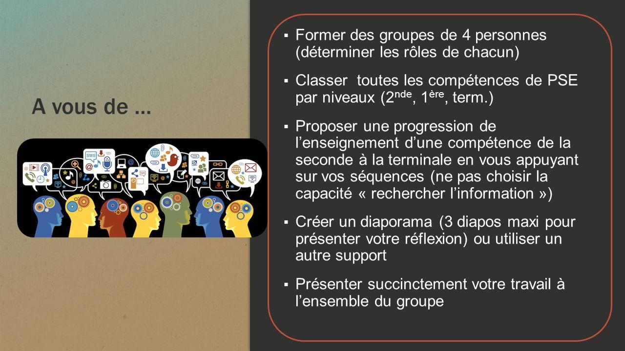 A vous de … Former des groupes de 4 personnes (déterminer les rôles de chacun) Classer toutes les compétences de PSE par niveaux (2 nde, 1 ère, term.)