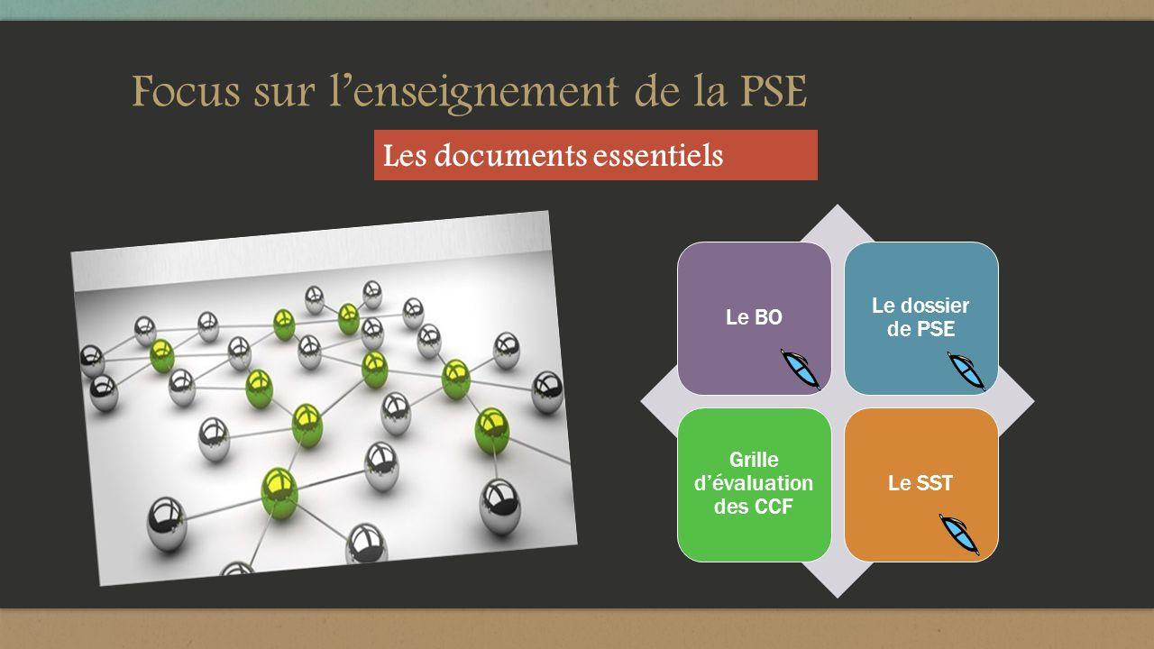 Focus sur lenseignement de la PSE Le BO Le dossier de PSE Grille dévaluation des CCF Le SST Les documents essentiels