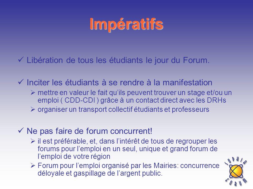 Impératifs Libération de tous les étudiants le jour du Forum. Inciter les étudiants à se rendre à la manifestation mettre en valeur le fait quils peuv