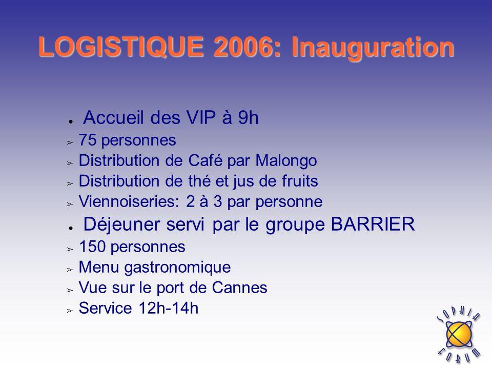 LOGISTIQUE 2006: Inauguration Accueil des VIP à 9h 75 personnes Distribution de Café par Malongo Distribution de thé et jus de fruits Viennoiseries: 2