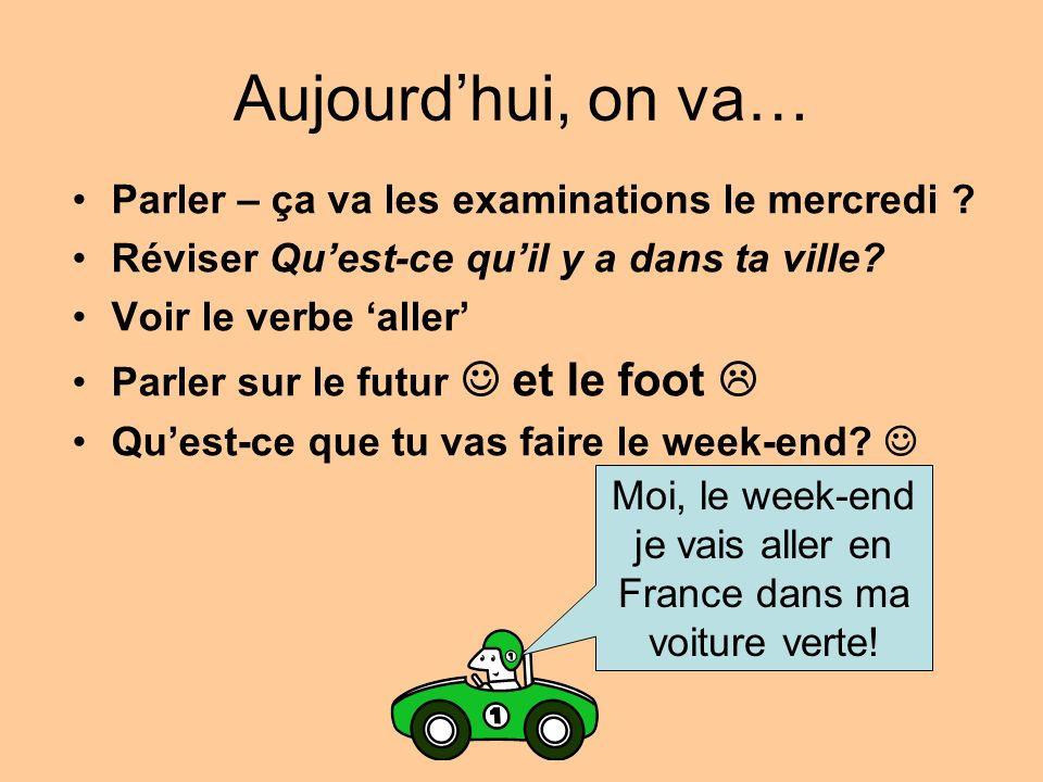Aller = to _ _ Je vais Tu vas Il va Elle va He goes/is going I go/am going You go/are going She goes/is going