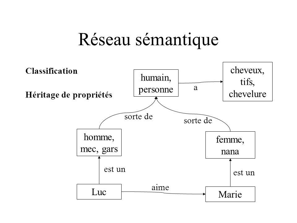 Réseau sémantique Classification Héritage de propriétés humain, personne cheveux, tifs, chevelure a Luc Marie aime homme, mec, gars femme, nana est un