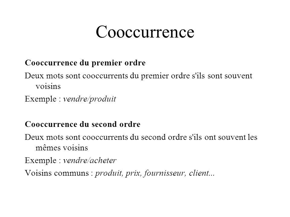 Cooccurrence Cooccurrence du premier ordre Deux mots sont cooccurrents du premier ordre s'ils sont souvent voisins Exemple : vendre/produit Cooccurren