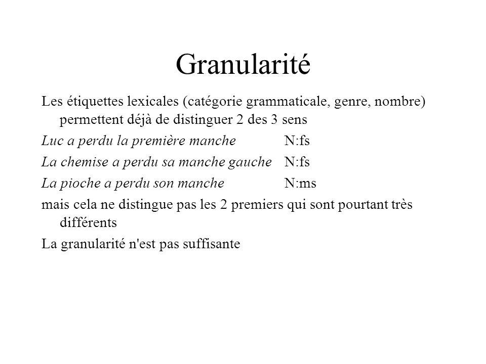 Granularité Les étiquettes lexicales (catégorie grammaticale, genre, nombre) permettent déjà de distinguer 2 des 3 sens Luc a perdu la première manche