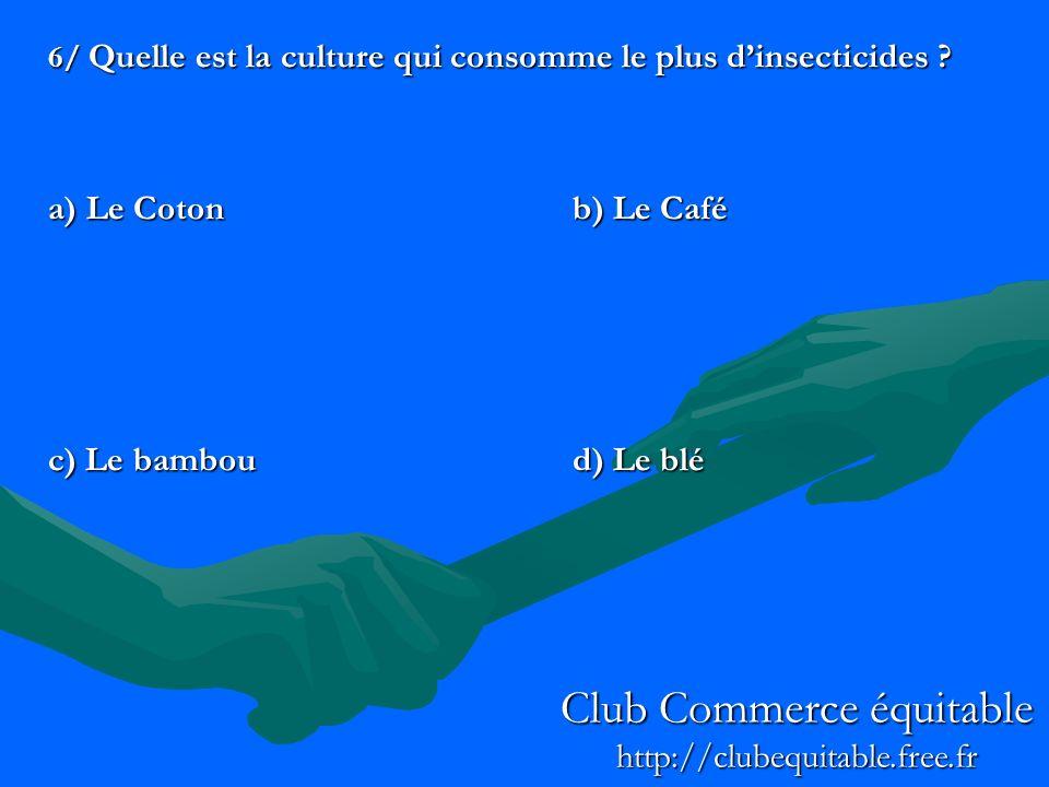6/ Quelle est la culture qui consomme le plus dinsecticides ? a) Le Cotonb) Le Café c) Le bamboud) Le blé Club Commerce équitable http://clubequitable