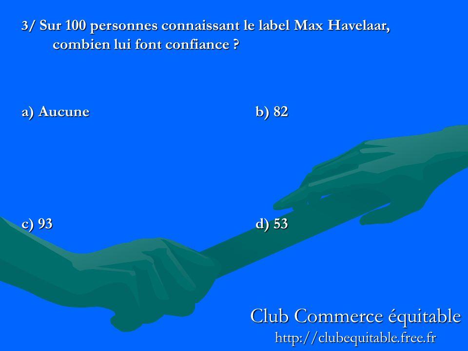 3/ Sur 100 personnes connaissant le label Max Havelaar, combien lui font confiance ? a) Aucuneb) 82 c) 93d) 53 Club Commerce équitable http://clubequi