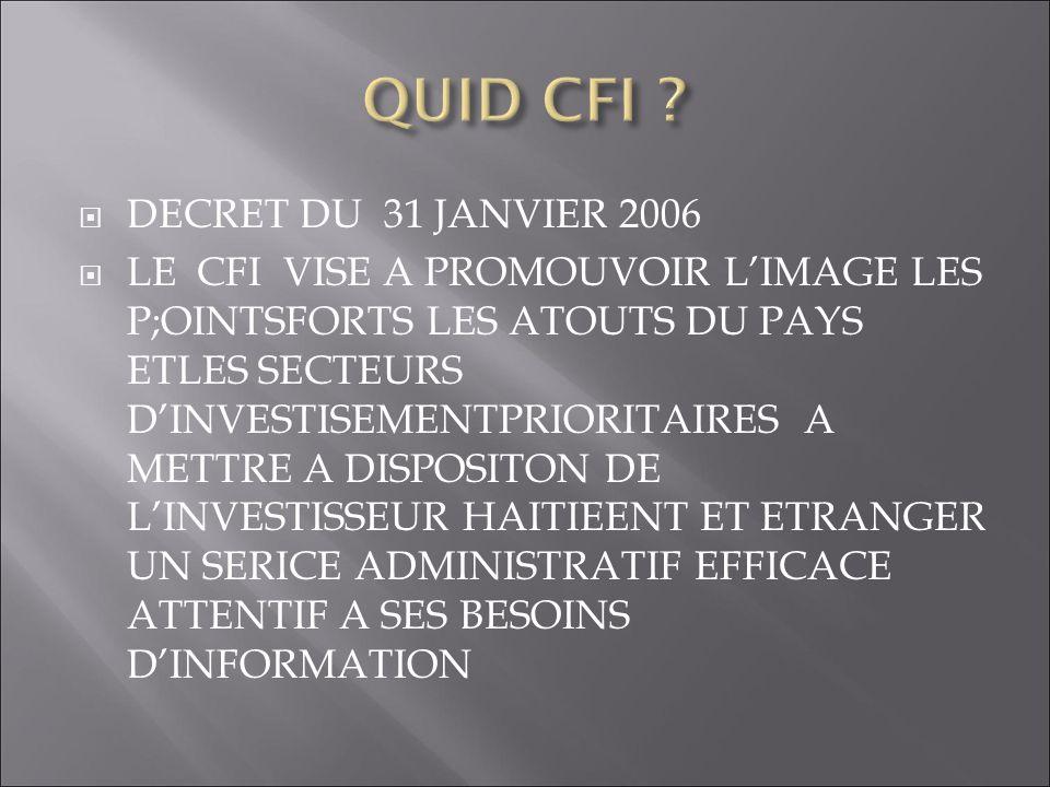 DECRET DU 31 JANVIER 2006 LE CFI VISE A PROMOUVOIR LIMAGE LES P;OINTSFORTS LES ATOUTS DU PAYS ETLES SECTEURS DINVESTISEMENTPRIORITAIRES A METTRE A DIS