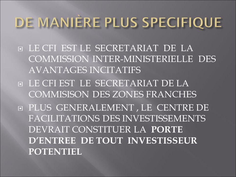 LE CFI EST LE SECRETARIAT DE LA COMMISSION INTER-MINISTERIELLE DES AVANTAGES INCITATIFS LE CFI EST LE SECRETARIAT DE LA COMMISISON DES ZONES FRANCHES