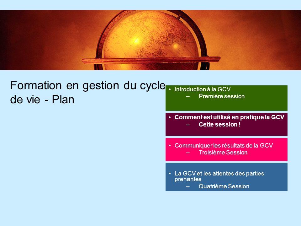 3 3 Introduction à la GCV –Session précédente Fait Objectif dapprentissage: Comprendre les bases théoriques de la gestion du cycle de vie & son histoire 08.00- 08.30 Quest ce quun cycle de vie .
