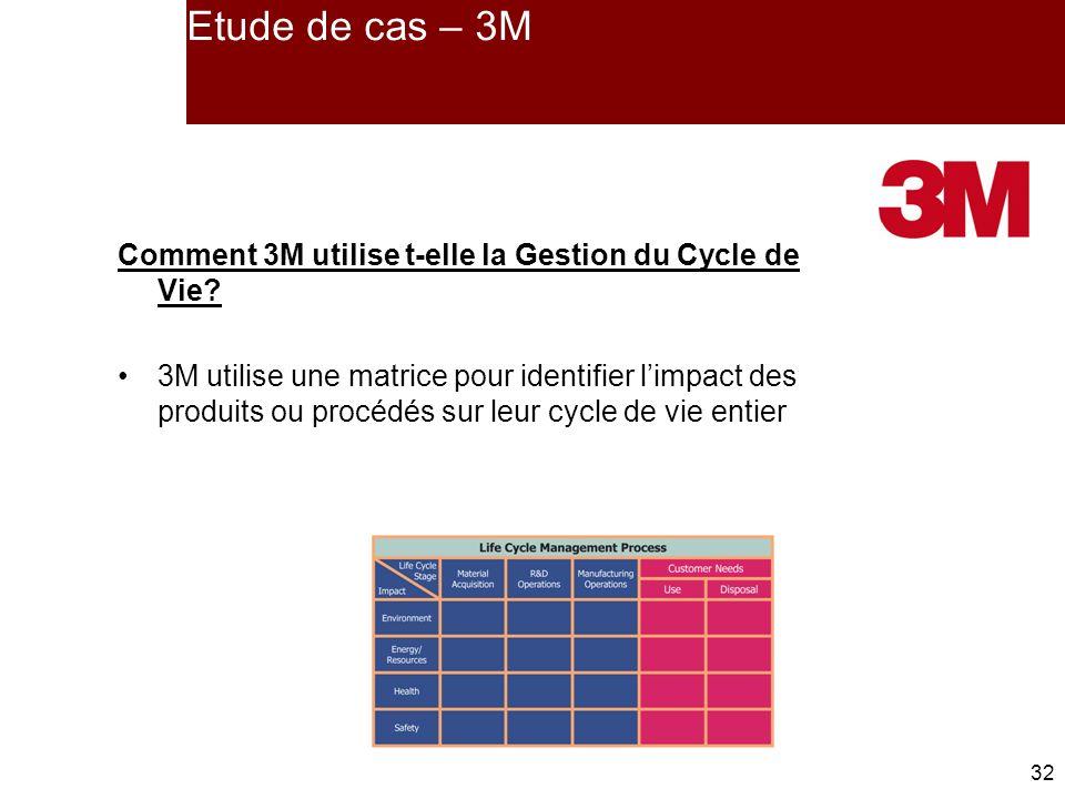 32 Etude de cas – 3M Comment 3M utilise t-elle la Gestion du Cycle de Vie.