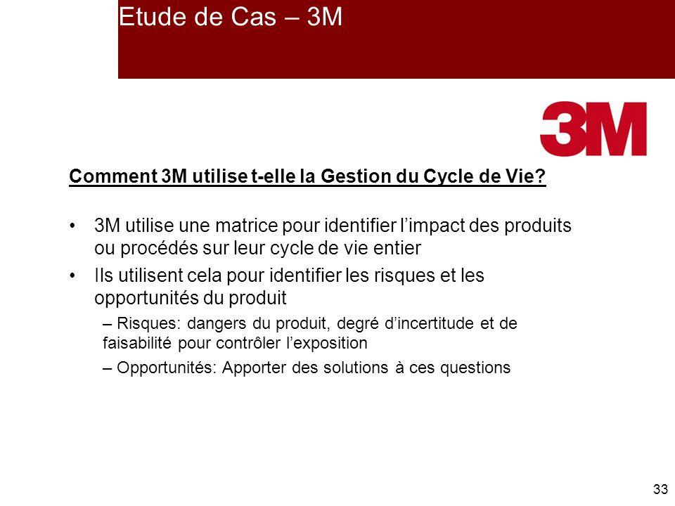 33 Etude de Cas – 3M Comment 3M utilise t-elle la Gestion du Cycle de Vie.