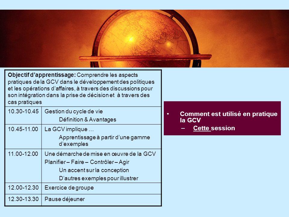5 5 Communiquer les résultats de la GCV –Troisième Session Objectif dapprentissage: Fournir une bonne compréhension des outils et stratégies de communication.